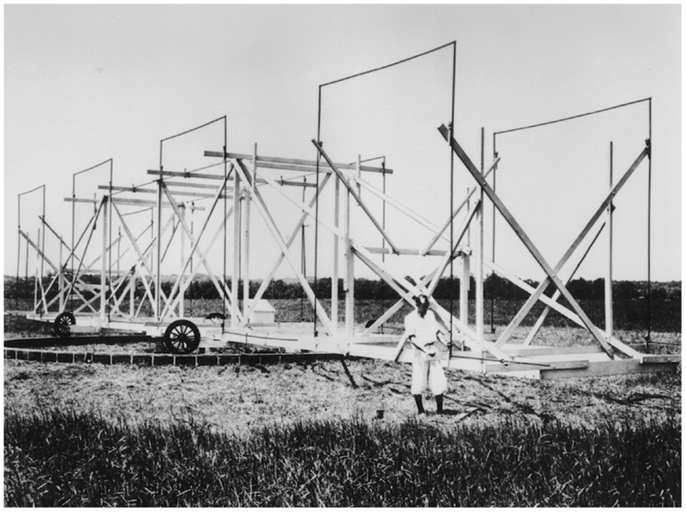 Figure 2 - The founder of radio astronomy, Karl Jansky, stands with the antenna he built that detected the first radio waves identified as coming from space. Source: NRAO.